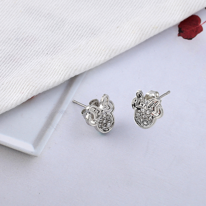 6813ffbdf2911 TOGORY Presents Silver Plated Crystal Mickey Shape Pan Stud Earrings  Sparkling Minnie Fashion Jewelry Special Store-in Stud Earrings from  Jewelry & ...
