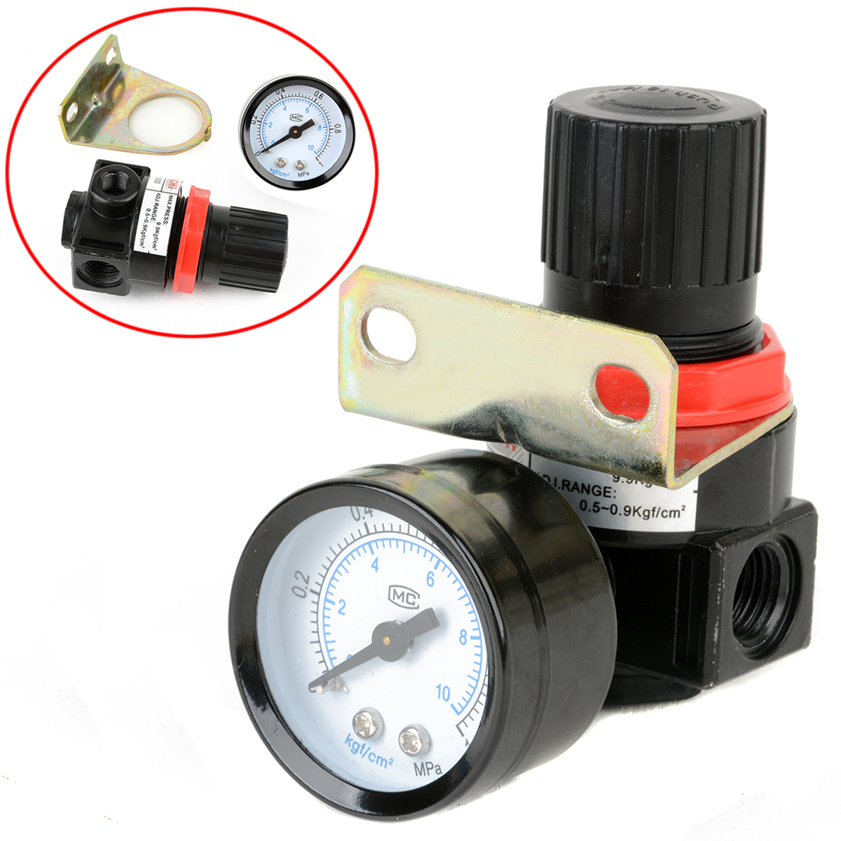 1pc Air Control Pressure Gauge Compressor Relief Regulator Regulating Valve 75*40*40mm Mayitr Pneumatic Parts 120psi air compressor pressure valve switch manifold relief regulator gauges
