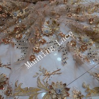 Gold embroidery beautiful 3D decals and pearls and hot French luxury wedding dress fabric African embroidery lace