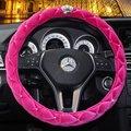 1 pcs Moda diamante PAI tampa da roda de direcção do carro para rosa das meninas de couro preto PU Quatro Estações Carro Styling Interior acessórios