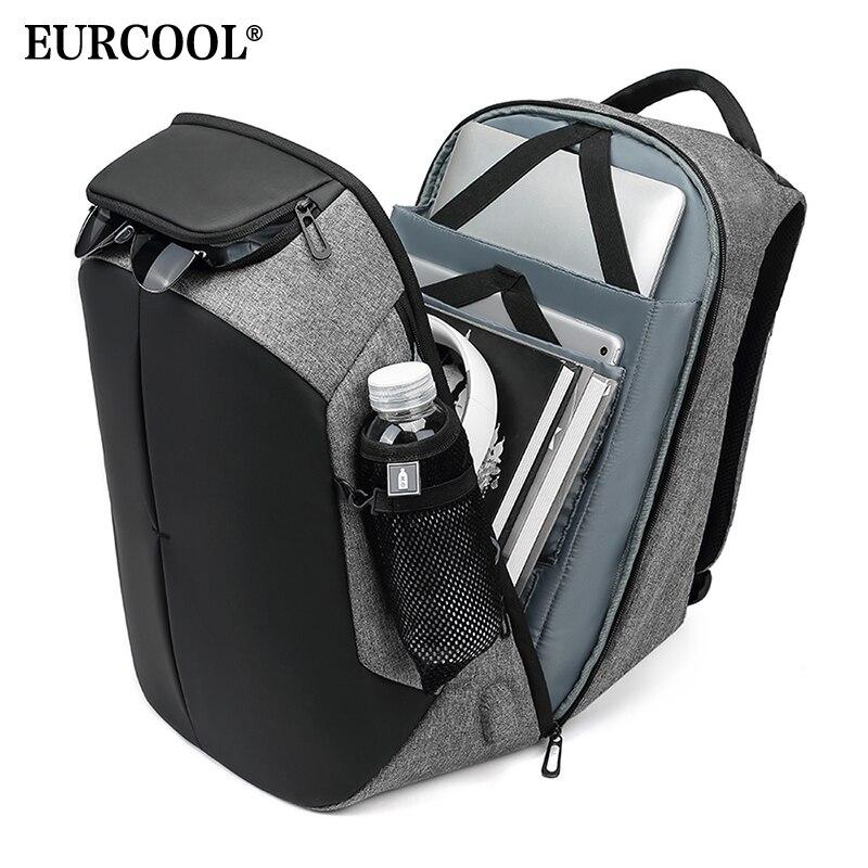 Bagaj ve Çantalar'ten Sırt Çantaları'de EURCOOL Erkek seyahat sırt çantası İşlevli Büyük Kapasiteli Çanta USB Şarj 15.6 inç Laptop Sırt Çantaları Su Geçirmez n0005'da  Grup 1
