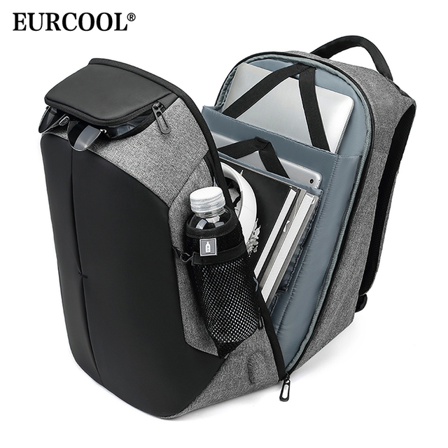 EURCOOL Male Travel Backpack Multifunction Large Capacity Bags USB Charging 15.6 inch Laptop Backpacks Water Repellent n0005