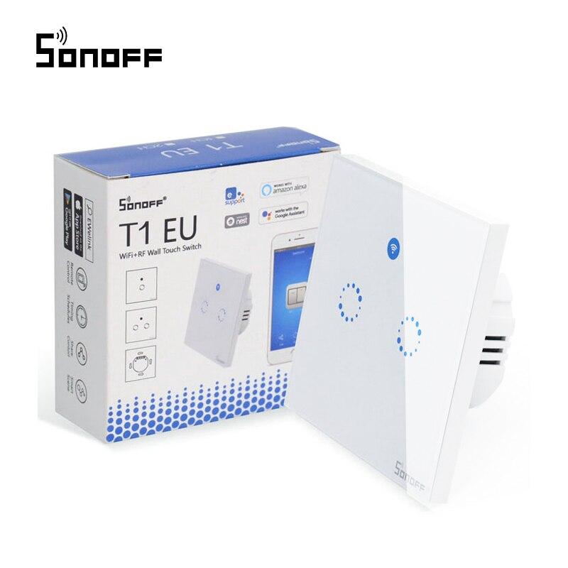 Sonoff T1 RF EU Wifi Schalter, smart Wand Schalter Touch Licht Schalter 1 Gang 2 Gang Remote Smart Home Controller Mit RF433 Funktion