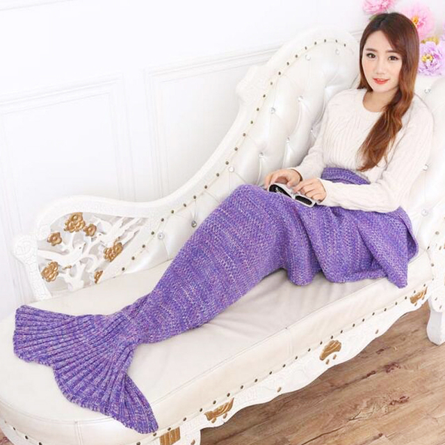 Manta de ganchillo hecho a mano de hilo de punto de Cola de Sirena sirena manta saco de dormir adultos tiro Envoltura de cama super suave 90 cm 195 cm
