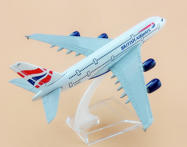 20cm plane model Boeing 380 British Airways aircraft A380 Alloy simulation airplane model for kids toys Christmas gift