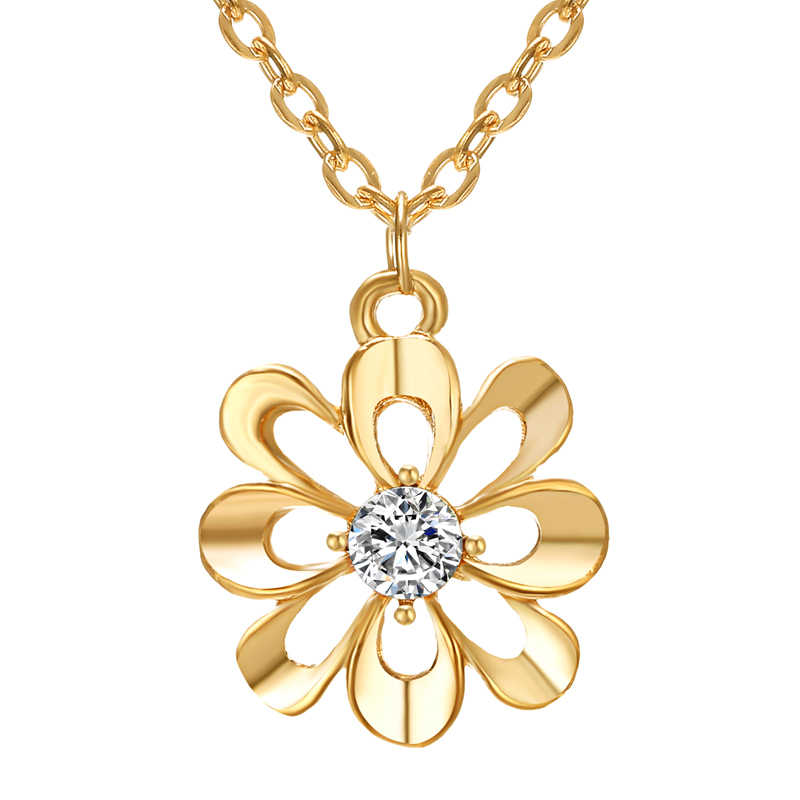 Elegant Women Jewelry Set gold Flower Pendant Necklaces Earring Rings Set Pretty Bride wedding Accessories