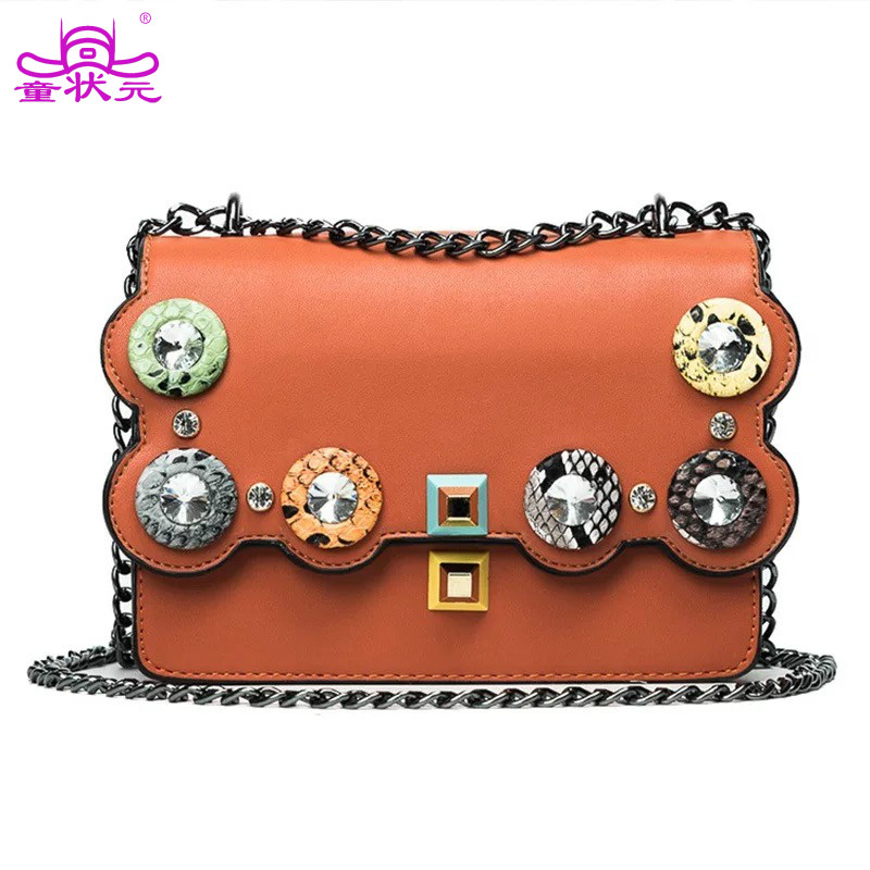 2017 The New Fashion Diamond Stitching Color Rivets Chain Ladies Handbag Shoulder Bag Casual Purse Women Crossbady Messenger Bag new arrival fashion color stitching simple silver buckle casual chain handbag women s shoulder bag across body messenger totes