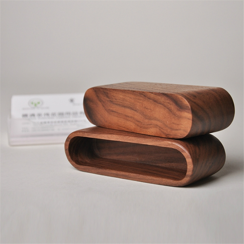 Walnut 1pc Wooden Business Card Holder Card Organizer Office Desk Organizer