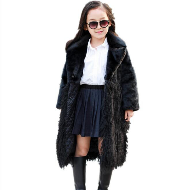 Black Winter Girls Faux Fur Coat Warm Teenage Jacket Snowsuit Outerwear Baby Children girl Clothes Fake Fur Overcoats clothing girls fur coat clothing with pearl lace flower autumn winter wear clothes baby children faux fur dress dresses style jacket 2017
