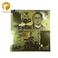 Normal Gold Banknote Rare Thailand Fake Money Gold Plated 20 Baht 10pcs Drop Shipping