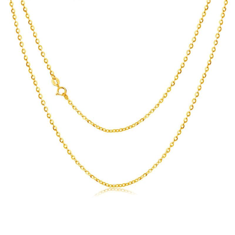 ANI 18 K Ouro Amarelo (AU750) colar de corrente para As Mulheres Engagement Fine Jewelry Letra O Cadeia para Pingente 16 polegadas ou 18 polegadas