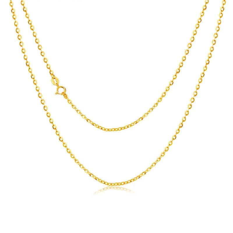 العاني 18 K الذهب الأصفر (AU750) سلسلة قلادة للنساء المشاركة غرامة مجوهرات يا إلكتروني سلسلة ل قلادة 16 بوصة أو 18 بوصة-في قلادات من الإكسسوارات والجواهر على  مجموعة 1
