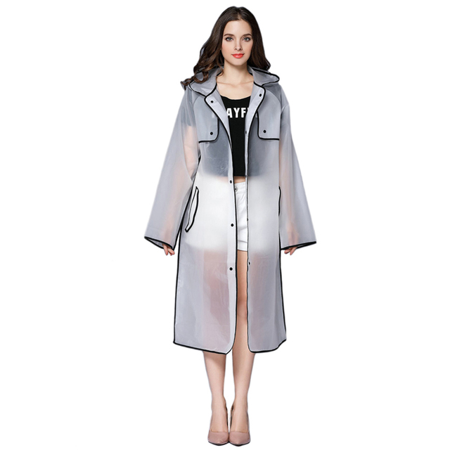 ef697f4ee2d10 Transparent Rain Coat Women Long Raincoat Plus Size Hooded Impermeable  Trench Coat Rain Cover Camping Hiking Poncho JJ-SYYY121-