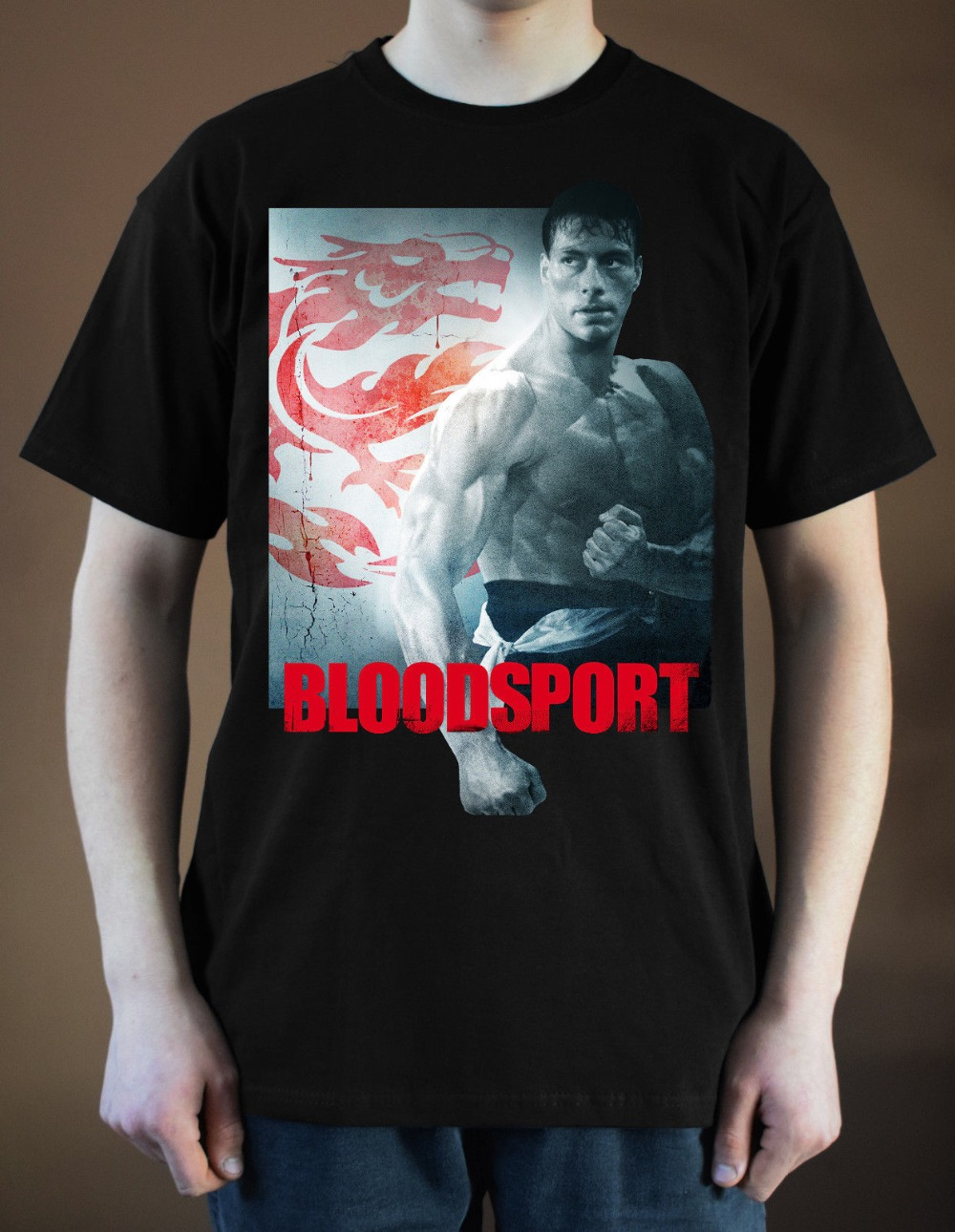 Blood Sport Movie Poster Jean-Claude 100 % Cotton T Shirt for Men Design Tops Harajuku Funny Tee Shirts image