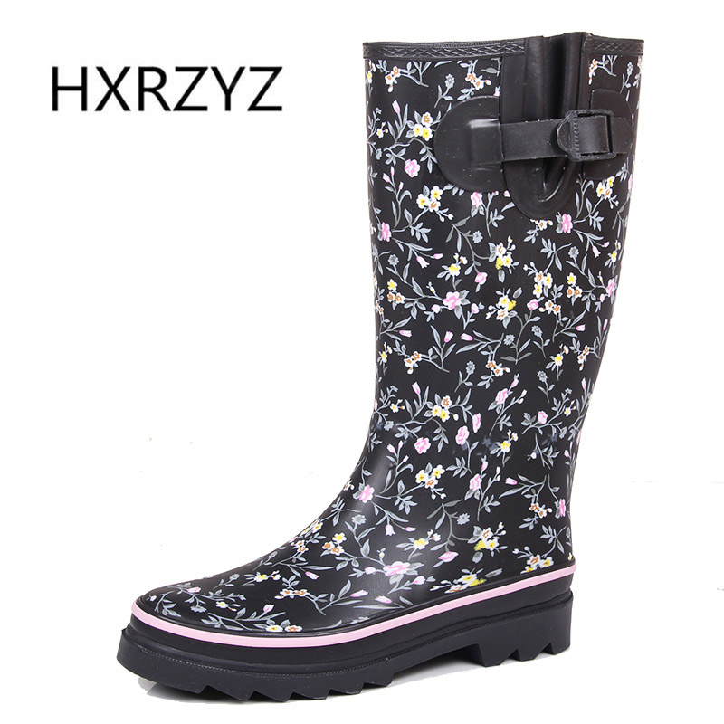 HXRZYZ women rain boots female buckle rubber boots new fashion ladies printing non slip waterproof spring/autumn women's shoes