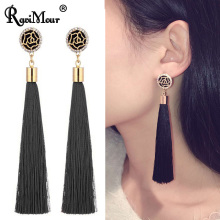 RAVIMOUR Brincos Femme Fashion Tassel Earrings for Women Rose Flower Dangle Earings Long Fringed Crystal Ear Jewelry Accessories