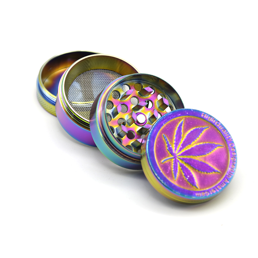 Tobacciana Cigars Nice 40mm Rainbow Stainless Steel Spice Herb Grinder Cylinder 4 Piece Tobacco Mill Big Clearance Sale