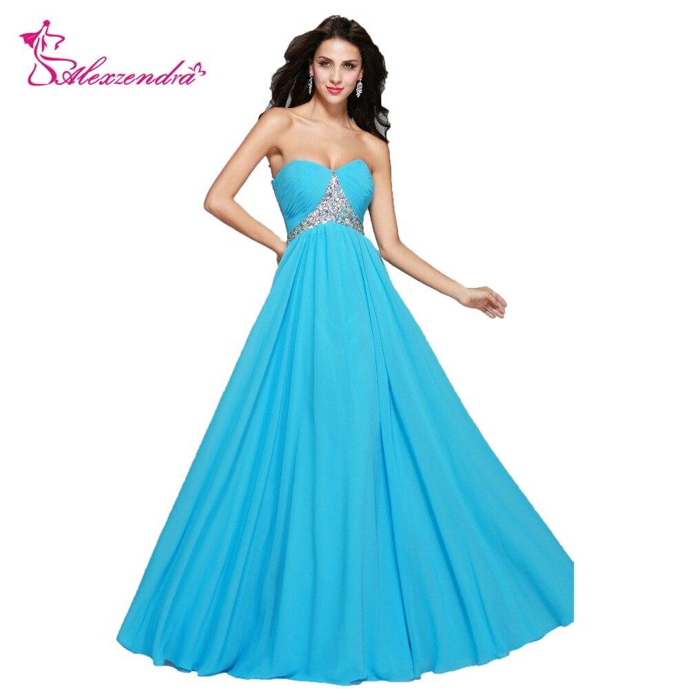 Alexzendra Une Ligne Bleu Chérie Perles Longues Robes de mariée pour la Mariée Robe de Soirée pour Mariage