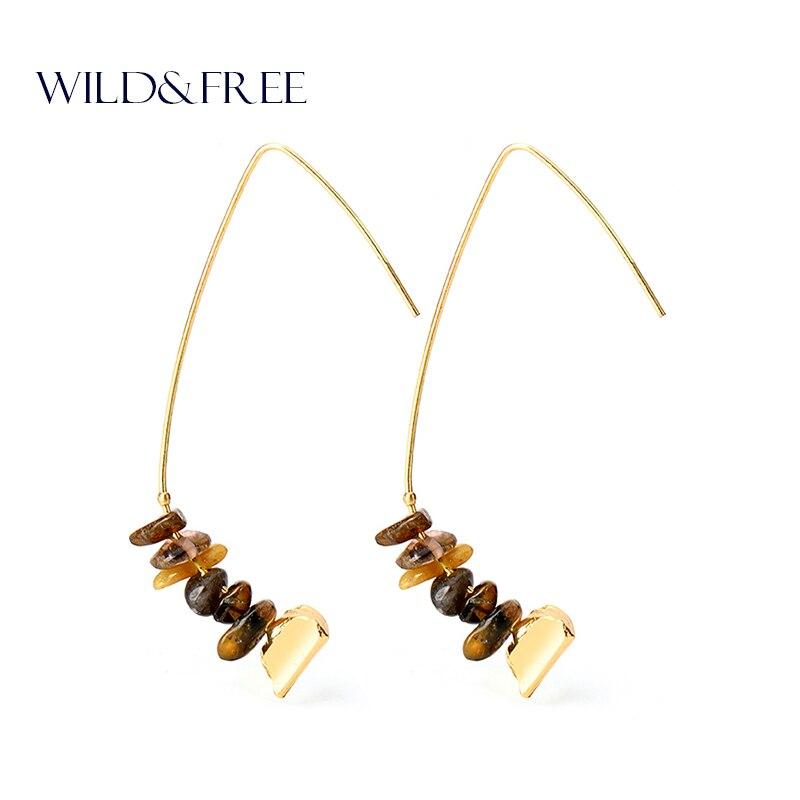 Women Vintage Natural Stone Beads drop Earrings Fashion Zinc Alloy Gold Hook Spring Dangle Earrings Jewelry for Women Gift