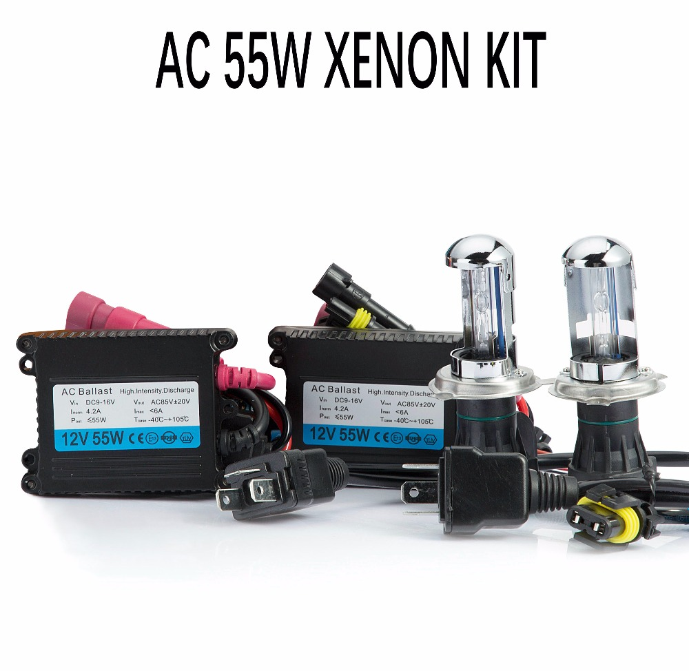 цена на One set HID Xenon h4 bixenon hid kit AC 12V 55W H4 Bi xenon lamp H4 Hi/lo beam bulb 3000K 4300k 5000k 6000k 8000k car headlight
