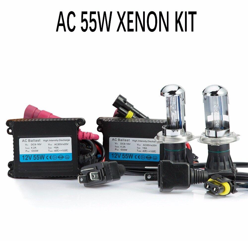 Un ensemble caché xénon h4 bixenon HID kit AC 12 V 55 W H4 Bi xénon lampe H4 Hi/lo faisceau ampoule 3000 K 4300 k 5000 k 6000 k 8000 k K phare de voiture