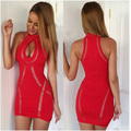 Mini Red Cocktail Party Dresses High Neck Keyhole Front Sexy Short Red Club Party Dresses