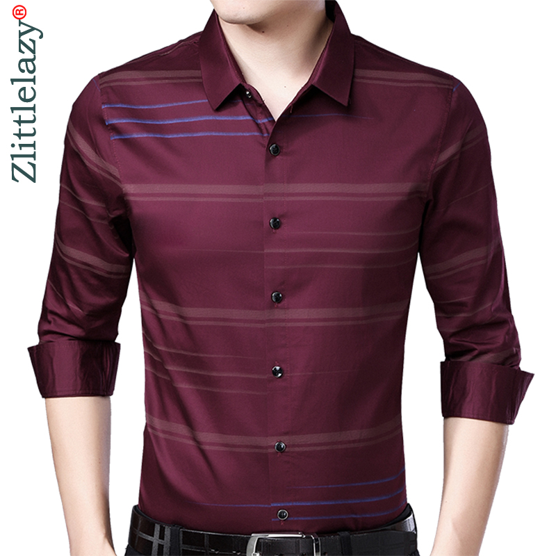 d82e5123 2019 social long sleeve striped designer shirts men slim fit vintage  fashions men's shirt man dress
