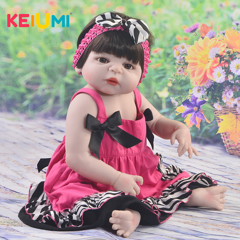KEIUMI 23 Inch Full Vinyl Silicone Babies Doll Realistic 57 cm Princess Reborn Baby Girl Dolls Toys For Kids Birthday XMAS Gifts 23 inch girl toys realistic baby doll reborn girls dolls baby full silicone vinyl newborn babies kids birthday christmas gift