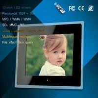 12 inch acrylic LED digital photo frame advertising machine mp3/mp4 play usb/card clock calendar display multi-language settings