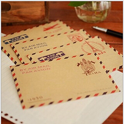 New 10 Pcs/lot Retro Postcard Letter Mini Gift Envelope Stationary Storage Brown Kraft Paper Vintage Envelop Approx.9.6*7.3cm
