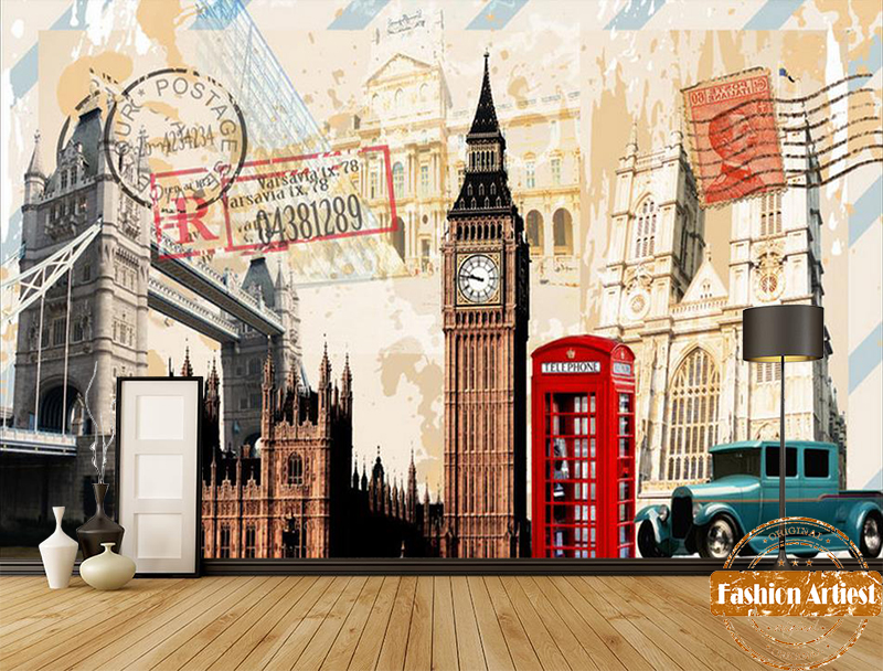 Custom old times british poster card wallpaper mural uk for Custom mural wallpaper uk