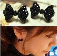 black stone bowknot ear clip on earrings no pierced ears gift idea brincos