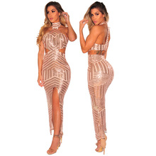 7d14ff135d 2018 new Fashion Women Sexy Sequined Party Bodycon Dresses Ladies Night  Club Front Split Bodysuits Spring