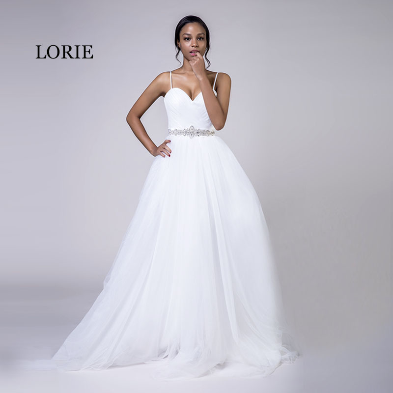 LORIE Plus Size Wedding Dresses Spaghetti Strap White Tulle Beaded Stones Sashes A-Line Sweetheart Bridal Beach Wedding Gowns