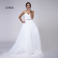 LORIE Plus Size Wedding Dresses Spaghetti Strap White Tulle Beaded Stones Sashes A Line Sweetheart Bridal