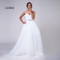 LORIE Plus Size Wedding Dresses Spaghetti Strap White Tulle Beaded Stones Sashes A Line Sweetheart Bridal