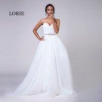 8478c8bdc LORIE tamaño más vestidos de novia de la correa de espagueti blanco de tul  de piedras