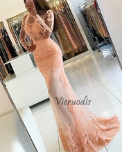 Vieruodis/ Pink O-Neck Long Mermaid Evening Dress 2019  Appliques Lace Backless Women Pageant Gown Sleeve Formal Prom Party