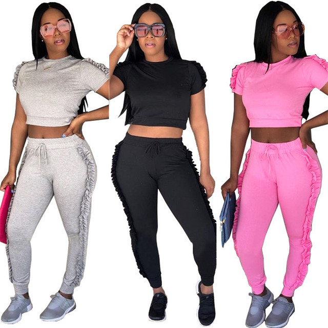 a2913e7546 Summer Women Tracksuits Two Piece Sets Fashion Casual Side Ruffle Crop Top  and Long Pants Ladies Sweat Suits Jogger Leisure Suit