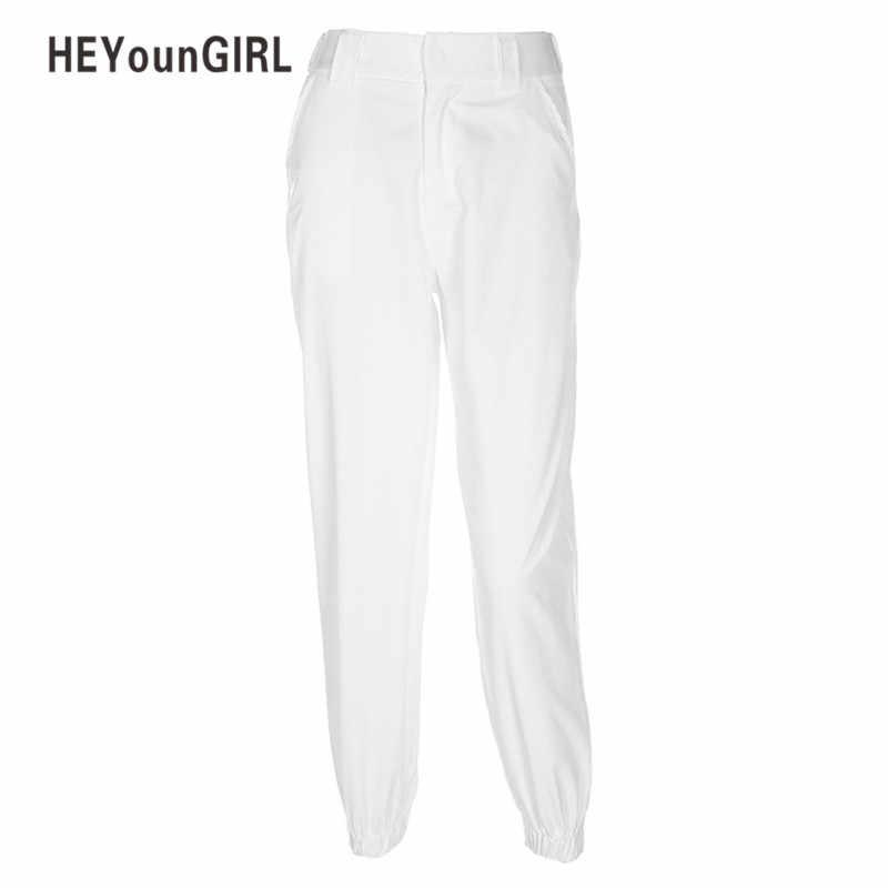 HEYounGIRL Pantalon женские, с завышенной талией брюки Для женщин шаровары Штаны белый тренировочные штаны Для женщин s Модные Повседневное свободные белые впитывает пот и Штаны