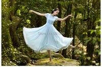 Short Sleeve Ruffles Light Blue Chiffon Long Medieval Dress Renaissance Lace Gown Princess Costume Victorian Marie