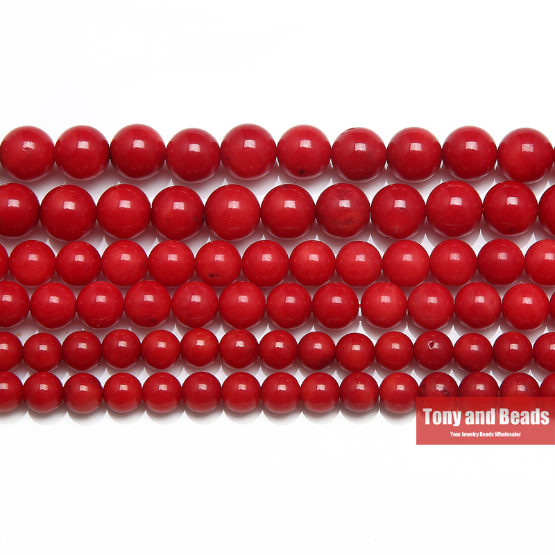 Free Shipping Natural Red Coral Round Beads 15