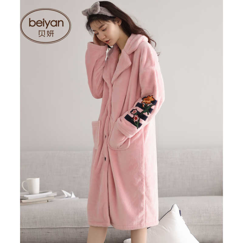 58cdd1af9e ... Ms BeiYan winter coral fleece pajamas han edition cardigan woman long  robe with thick warm flannel ...