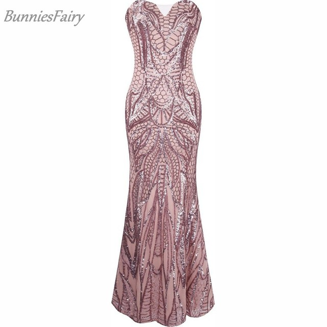 8094d77258e 2018 Women American Elegant Style Sexy Fishtail Paillette Boob Tube Bandage  Dress for Prom Evening Party Wear Slim Fit Vestido