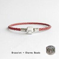 Echtes 100% 925 Sterling Silber & Red Leder Kette Eule Charme-korne Armband Für Frauen Männer Original Edlen Schmuck H065