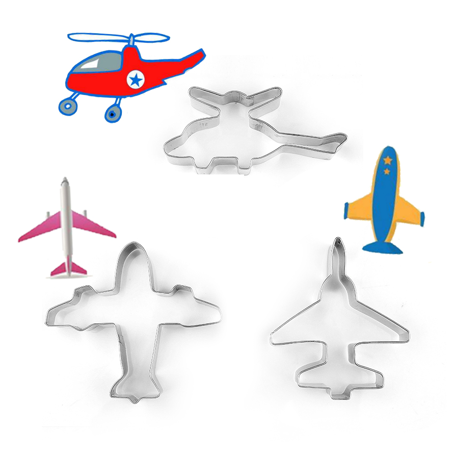 US $3 22 OFF 3 Pcs Stainless Steel Kartun Pesawat Helikopter Biscoito Cookie Cutter Cake Decorating Fondant Cutters Alat Cookies Baking