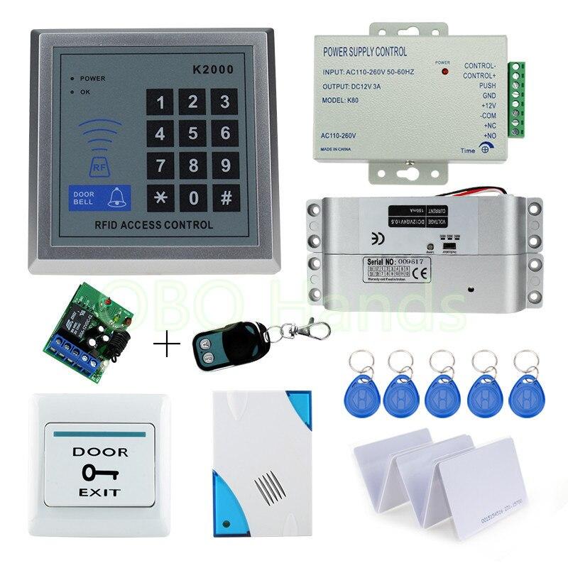 Kit de système de serrure de porte de contrôle d'accès RFID avec serrure à boulon électrique cloche de porte à clavier RFID pour la maison 500 cartes de clé EM utilisateur
