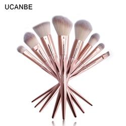 8Pcs UCANBE Real Taper Grasp Makeup Brushes Set Contour Eyeshadow Professional Soft Rose Gold Metallic Make Up Brushes Pincel