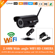 2.0mp Hd Wifi Bullet Ip Camera 90 Degree Angle Wireless Waterproof Outdoor Cctv Webcam Motion Detect Freeshipping Cmos Onvif