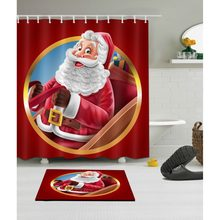 LB Funny Santa Claus Christmas Red Shower Curtain And Mat Set Waterproof Washable Polyester Bathroom Fabric